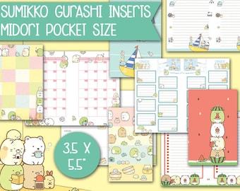 Printable inserts for midori travelers notebook pocket size - Sumikko gurashi theme -