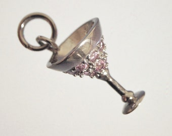 Petite Sterling Silver 3-D Pink cz Martini Glass Charm Pendant