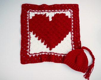 Crochet Baby Blanket - Crochet Baby Lovey - Baby Security Blanket - Baby Mini Blanket - Baby Shower Gift - Baby Heart Blanket - Ready ToShip