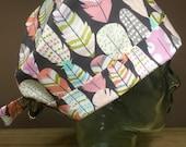 Rose, Aqua & Grey Metallic Feather Scrub Cap,  Women's Georgous Pink Feather Surgical Scrub Hat, Pixie Tie Back Scrub, Custom Caps Company