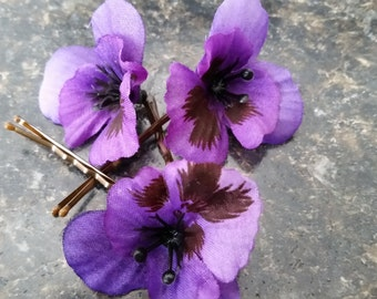 Purple Pansy Bobby Pins