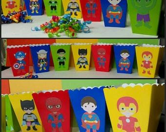 10 Superhero Themed Snack/Favor Boxes, Batman and Superman Popcorn Box, Superhero Favors