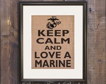 Marine wife, Military burlap Art Print, Military Gift, Marines Family, Marines Decor, Marines girlfriend, Marines wall sign, Marine gift