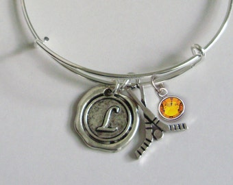 FIELD HOCKEY Bangle Bracelet Personalize W/ Initial / Birthstone Drop / Under Twenty / Usa  H1