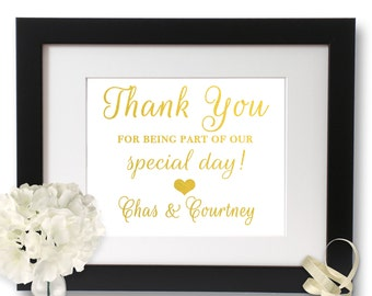Thank You wedding, wedding signage, thanks wedding sign, Gold Foil, Wedding Print, Real Foil,
