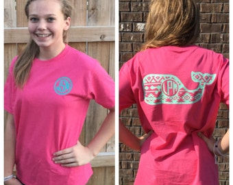 WHALE LOVE! Aztec Whale custom monogrammed short or long sleeve T-Shirt. Very trendy and cute! Girls - Adult sizes!