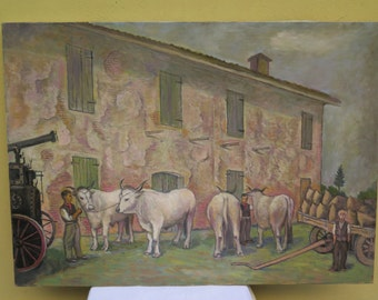 Vintage painting oil on canvas landscape of the italian countryside with animals and farmers. Original by dealer. Italy mid XXth cent.