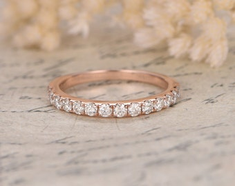 Valentine 14K Rose Gold Wedding Band Half Eternity Ring Moissanites Engagement Ring Stackable Ring Pave Peridot Ring Moissanite Wedding Ring