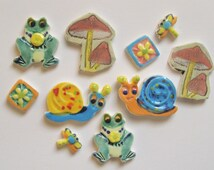 10 pc Tiles: READY to SHIP frogs toad stools mushrooms flowers dragonflies snails embossed pottery ceramic art tile set, mosaic magnets ITPH