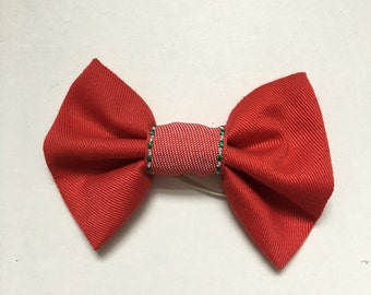 Handmade Red Bow Ribbon Hair Tie Elastic Stocking Filler Christmas Gift