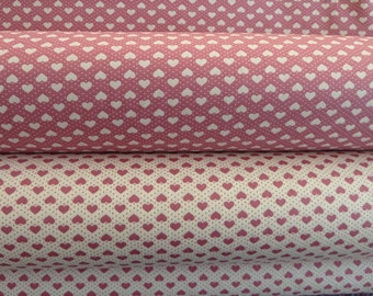 Hearts Fabric  100% Cotton Poplin.  Rose/Dusky Pink/Ivory. 2 coordinating designs. For Quilting, Dressmaking, Soft Furnishings, Crafts etc.