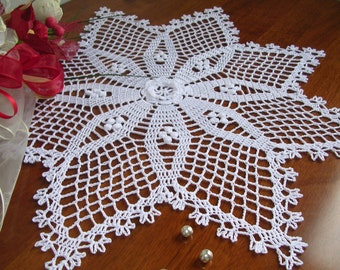 crochet lace doily easter decoration French star centerpiece napperon white cotton doily wedding birthday gift for mother day home decor