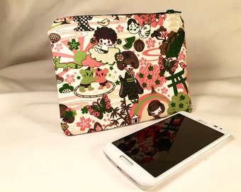 Pink Geisha Anime Kawaii Zipper Pouch