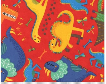 Dinosaurs Rawr Red - JURASSIC JAMBOREE collection by Abi Hall for Moda Fabrics - 35290 18