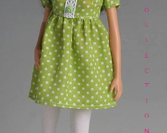 Barbie clothes, Polka dots dress with white leggings