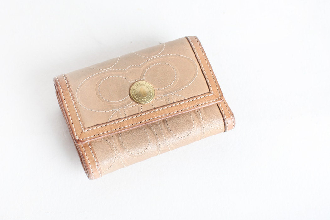 Vintage Leather Tan Coach Bifold Wallet With Coin Pocket