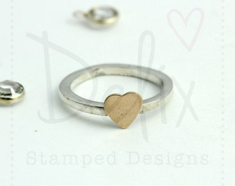 Sterling silver and Rose Gold stacking rings, silver ring, rose gold heart