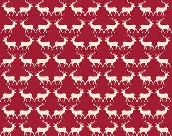 Fabric, Christmas fabric, deer Fabric, Christmas deer Fabric, red Christmas fabric, holiday fabric, Riley Blake Christmas fabric