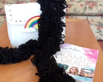 Sale - Reduced in Price.  Crocheted Black Ruffle Scarf.  UK Seller!