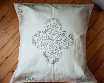 Floor Cushion Cover Handprinted Blockprint Handmade Natural Cotton