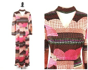60s Op Art Maxi Dress / Psychedelic Pink Cut Out Keyhole Vintage Disco Maxi Dress / Size M Medium