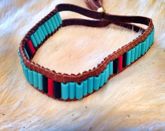 1 Row---Turquoise, Red, and Black Wampum Cuff