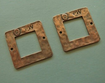 Copper Hammered Double Hole Connector - 23mm Square - One Pair