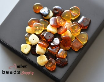 Mix Baltic amber beads. Chips style of amber. Jewelry Making. Beads. Multicolor, polished amber. Baltic amber. 40 Pieces. #2422/1
