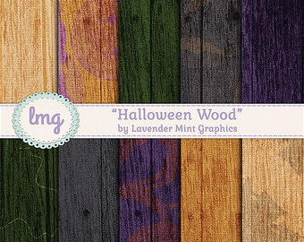 Halloween Wood Textured Digital Scrapbook Papers - Backgrounds with Bats, Cats, Ghosts, Haunted House - Instant Download, Commercial Use
