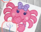 SHY CRAB GIRL Applique Design For Machine Embroidery