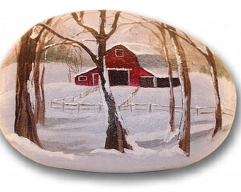 Barn Painted Rock - Barn Painted on Rock -Barn Painting - Painted Rock - Old Barn Collector Item - Barn Decor