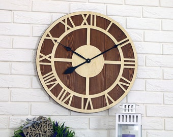 "Large wall clock,  23"", Rustic wall clock, wood wall clock, Wood Clock, Unique wall clock, Wall decor"