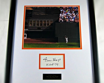 Willie Mays framed cut signature display