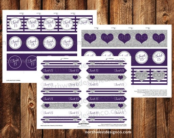 DIGITAL - Sweet 15 Toothpick Flags and Cupcake Toppers Birthday Party Printable Purple Silver Food & Straw Topper Girls Party Decoration