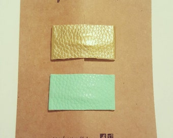 Gold and Robins egg Blue Snap Clips