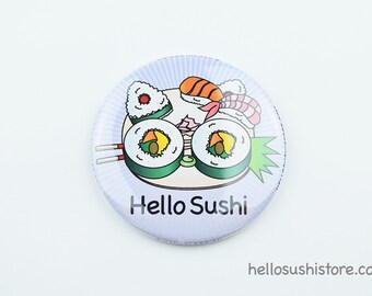 Hello Sushi Mirror (Purple) – Pocket Mirror, Compact Mirror, Makeup Mirror, Vanity Mirror, Japanese Mirror, Asian Art