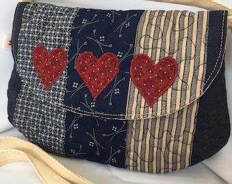 Navy blue patchwork purse bag