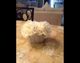Nearly Natural Carnation Arrangement with Vase in Cream