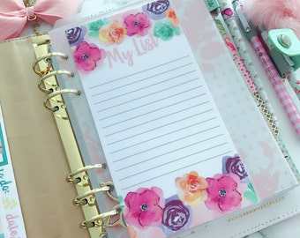 Double Sided Laminated Note To Do Shopping My List Dashboard : BLOOMS Planner accessories Re-Usable Page Marker Bookmark Insert