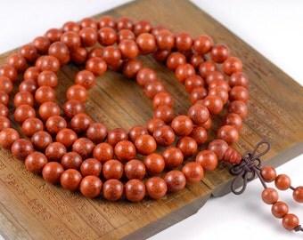 108PCS 8mm Natural Red Rosewood Prayer Buddha Mala Meditation Beads Round Loose Beads (90182705-398)