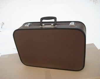 vintage suitcase/travel suitcase/ suitcase brown/faux leather