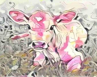 ACEO New Life - Calf ATC pink calf