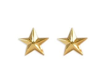 Minimalist golden star studs in solid sterling silver