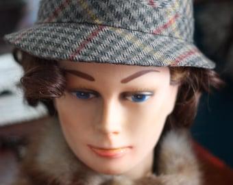 Hat Sherlock Holmes (deerstalker) tweed 1940-1950