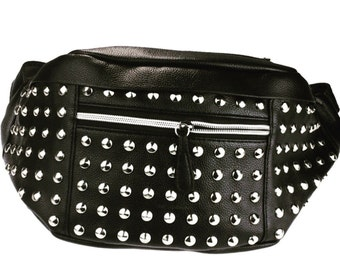 Faux Black Leather Stud Fanny Pack