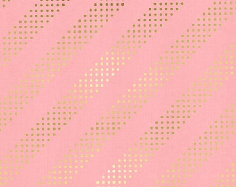 Cotton+Steel Basics - Dotted Stripe Pink with Gold Foil Quilting Cotton