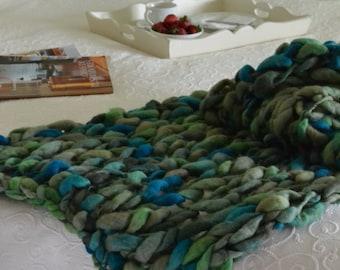 Green Matizado/Dark Green blanket throw