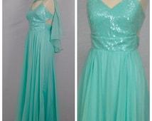 Vintage 1980s Prom Dress / 80s Aqua Prom Dress Blue Green Sequin Chiffon Dress Open Back w/ Cape Long Formal Evening Gown / Small