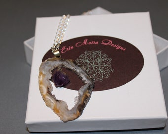 Raw Crystal with Hanging Amethyst Necklace