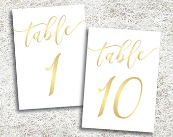 Gold Wedding Table Numbers 1 - 10 | PRINTABLE Instant Download | Printable Gold Script Table Numbers | Banquet | Anniversary | (FROST Set)